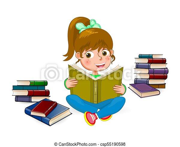 Chica feliz leyendo el libro 1 - csp55190598