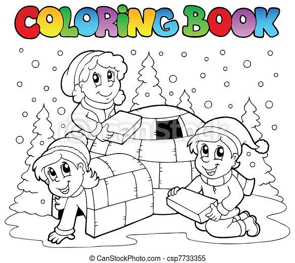 1, livre, coloration, scène, hiver - csp7733355