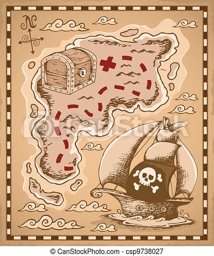 1, mapa, tema, tesouro, imagem - csp9738027