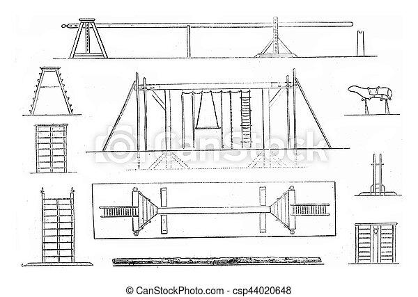 1. Mat, 2. Portico, 3. Plan gantry, 4. Tree Trunk, 5. Platform, 6. front view, 7. Large scale flat, 8. Horse, 9. Support, 10. Ladder, platform, vintag - csp44020648