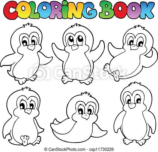 1, mignon, livre coloration, pingouins - csp11730226