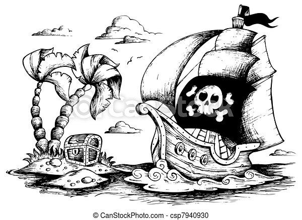1, navio, desenho, pirata - csp7940930