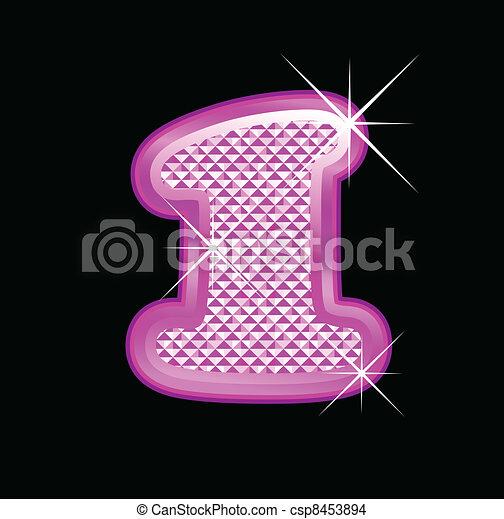 1 number girly pink bling bling - csp8453894