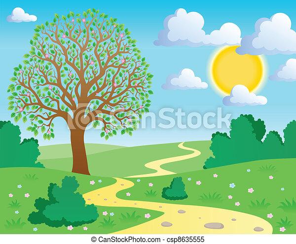 1 printemps th me paysage illustration printemps - Dessiner un paysage d hiver ...