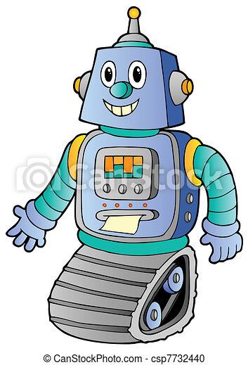 1, retro, robot, rysunek - csp7732440