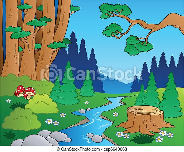 1, rysunek, krajobraz, las - csp6640063