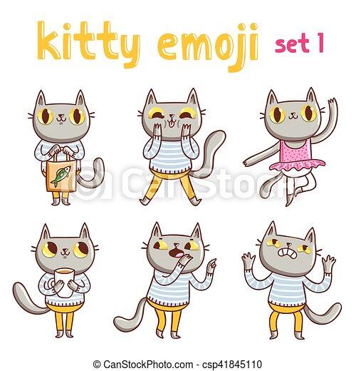 Kitty Emoji setzt 1 - csp41845110