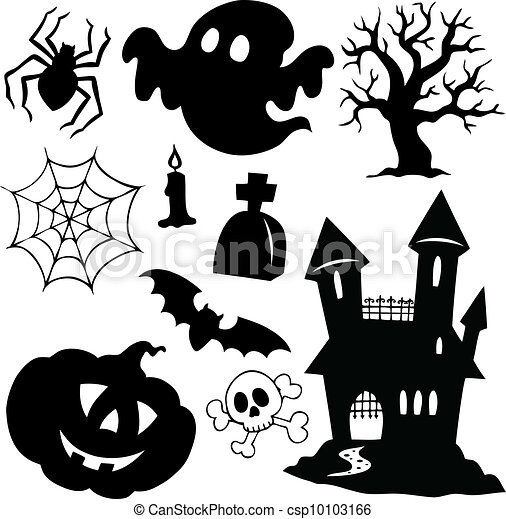 1, silhouettes, halloween, collection - csp10103166