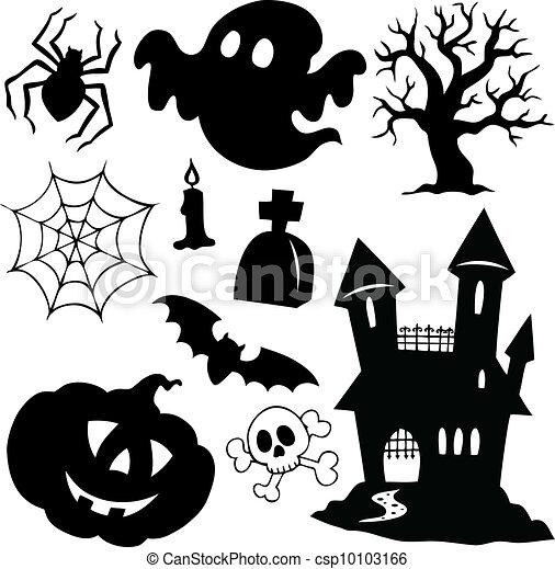 Siluetas de Halloween, colección 1 - csp10103166