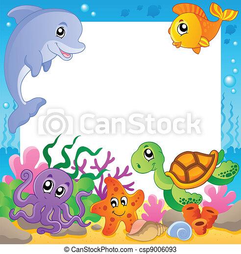 1, sous-marin, cadre, animaux - csp9006093