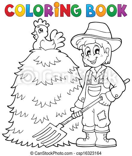 Tema de agricultor de libros de color 1 - csp16323164