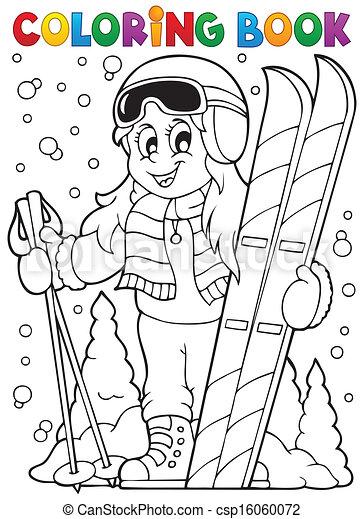 1, thème, livre coloration, ski - csp16060072