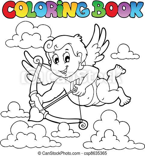 1, thème, livre coloration, valentin - csp8635365