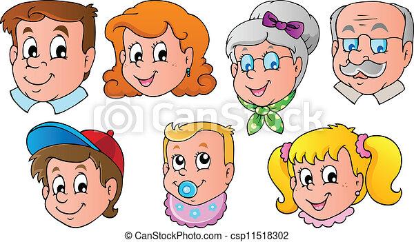 1, thema, beeld, gezin, gezichten - csp11518302