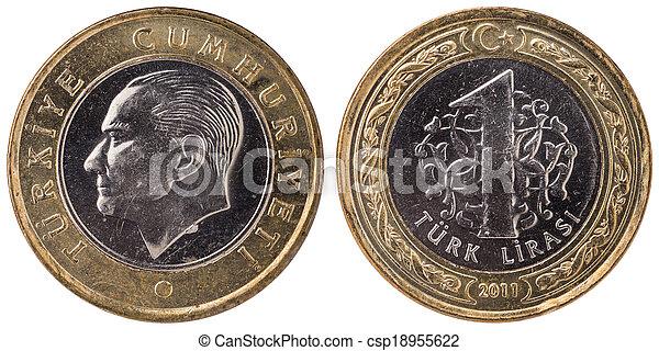 1 Turkish lira coin, 2011, both sides - csp18955622