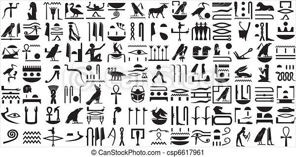 1, uralt, satz, hieroglyphen, ägypter - csp6617961