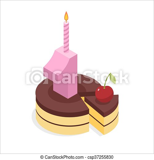 1 year birthday. Cake and Candle isometrics. Number one with candle. Celebration of anniversary pie. Piece of festive chocolate cake and cherry. Cheerful celebration - csp37255830