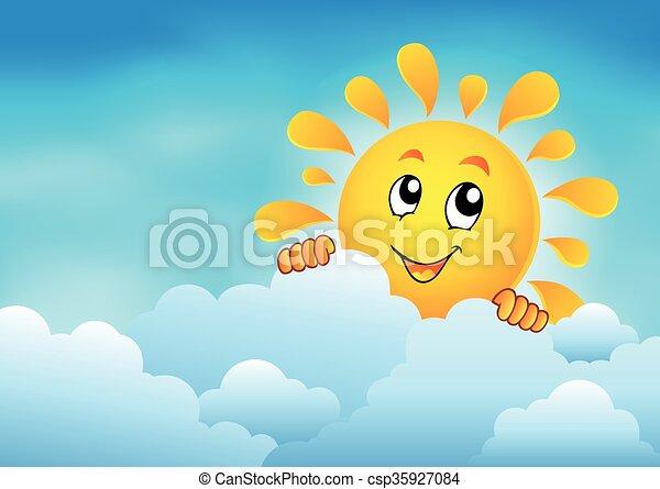1, zon, hemel, bewolkt, zich het verschuilen - csp35927084