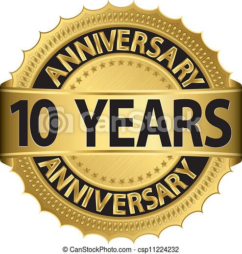 10, anni, dorato, anniversario, etichetta - csp11224232