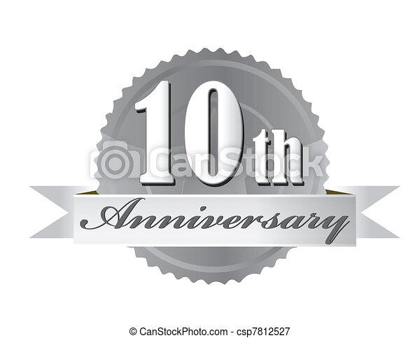 10, anniversario, illustrazione, sigillo - csp7812527