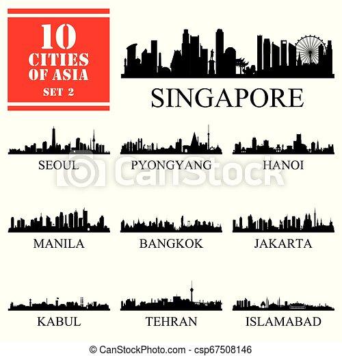 10 Asian cities, set of vector illustration - csp67508146