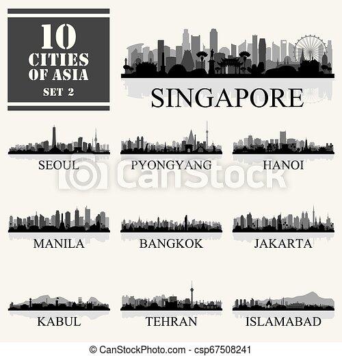 10 Asian cities, set of vector illustration - csp67508241