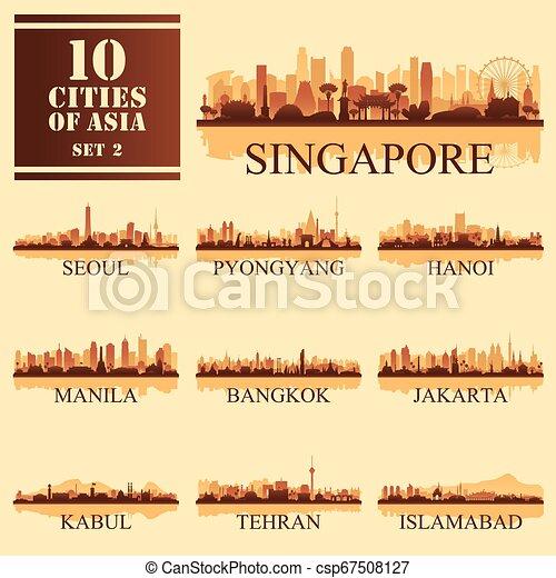 10 Asian cities, set of vector illustration - csp67508127