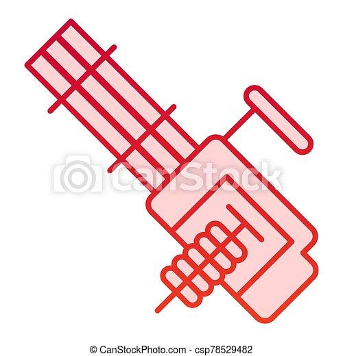10., automático, eps, estilo, diseño, aislado, arma de fuego, app., máquina, vector, múltiplo, arma, icon., gradiente, diseñado, ilustración, tela, white., plano - csp78529482