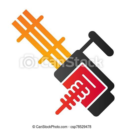 10., automático, eps, estilo, diseño, aislado, arma de fuego, app., máquina, vector, múltiplo, arma, icon., gradiente, diseñado, ilustración, tela, white., plano - csp78529478