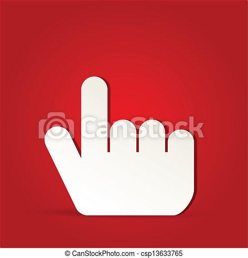 10, -, eps, freigestellt, vektor, finger, klicken, rotes , ikone - csp13633765