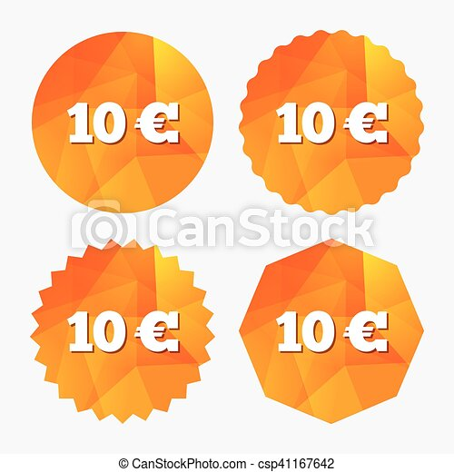 10 Euro Sign Icon Eur Currency Symbol Money Label Eps Vector