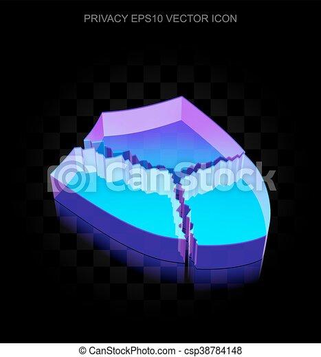 10, feito, escudo, privacidade, néon, eps, icon:, quebrada, glowing, vidro,  3d, vector
