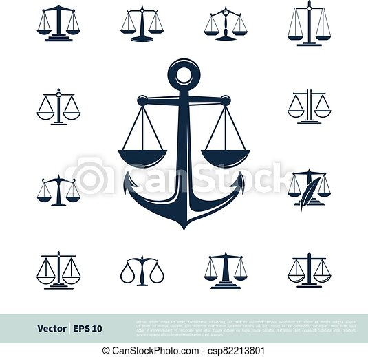 10., icono, abogado, conjunto, plantilla, eps, logotipo, design., justicia, ley, ilustración, legal, oficina, escala, vector - csp82213801