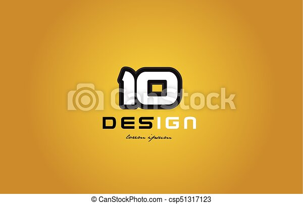 10 number numeral digit white on yellow background - csp51317123