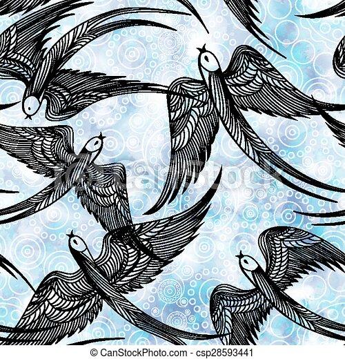 10, padrão, swallows., eps, seamless, vetorial - csp28593441