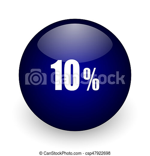 10 percent blue glossy ball web icon on white background. Round 3d render button. - csp47922698