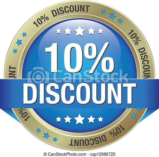 10 percent discount blue button - csp12086725