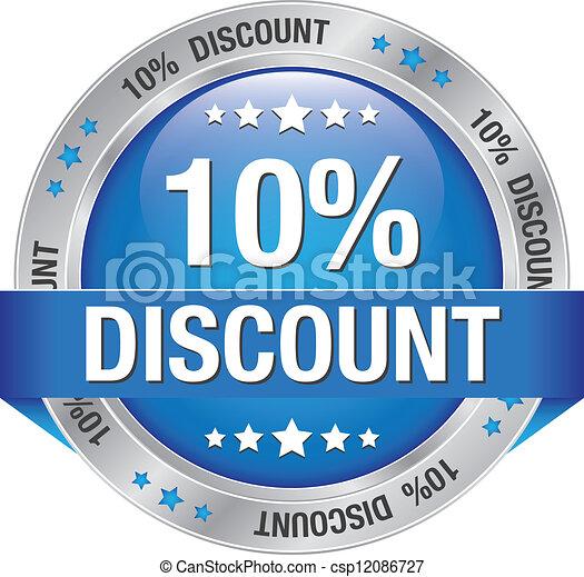 10 percent discount blue button - csp12086727
