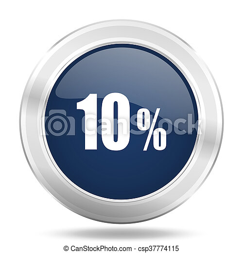 10 percent icon, dark blue round metallic internet button, web and mobile app illustration - csp37774115