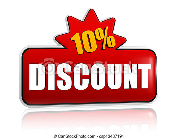 10 percentages discount 3d red banner with star - csp13437191