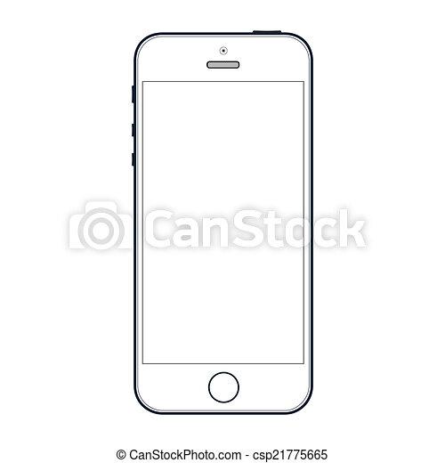 10, réaliste, mobile, écran, isolé, eps, téléphone, vecteur, noir, arrière-plan., vide, blanc - csp21775665