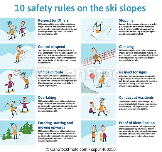 10 safety Rules on the Ski Slopes. Mountain Ski Safety Instructions. Vector Illustration for Brochure or Information Board in the Ski Resort. Characters Skier and Snowboarder in Different Situations. - csp51468256