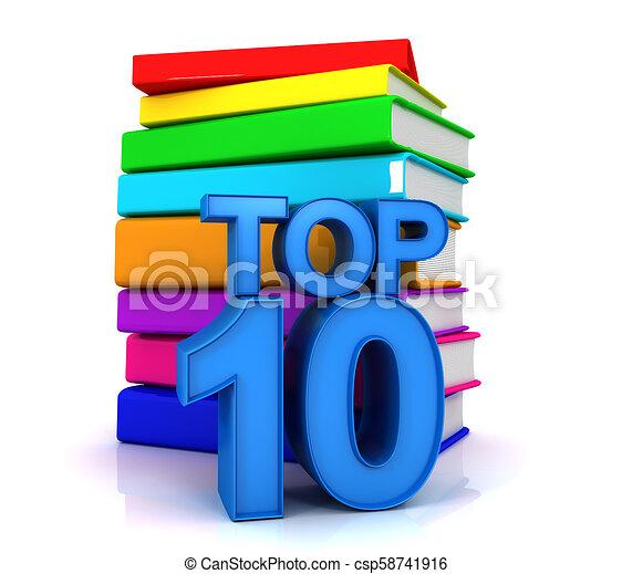 10, sommet, livres, mieux - csp58741916