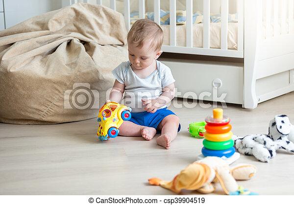 10, spielzeug, altes , bunte, boden, auto, monate, heiter, baby blöcke, spielende