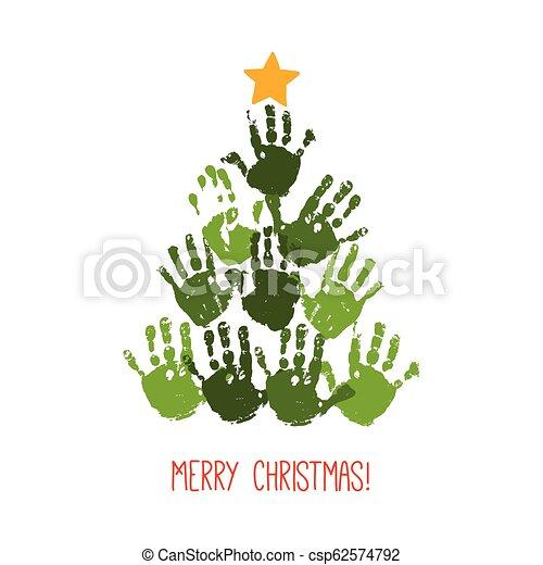 Imprimir el árbol de Navidad con una estrella dibujada a mano. Diseño de tarjetas de Navidad. Vector eps 10 ilustraciones aisladas en blanco. - csp62574792