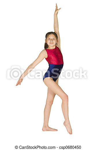 10 year old girl in gymnastics poses - csp0680450