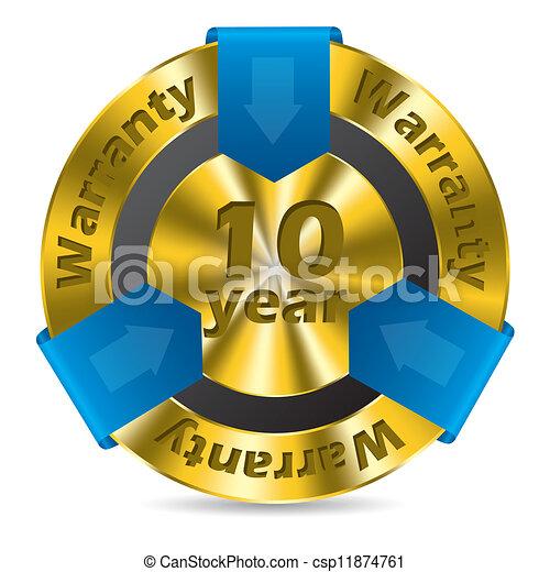 10 year warranty badge design  - csp11874761