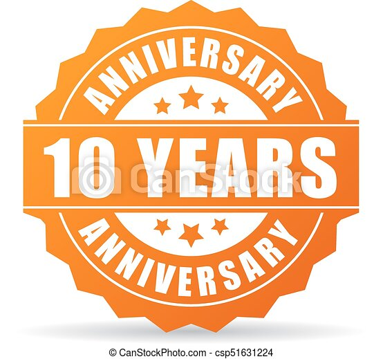 10 Years Anniversary Celebration Vector Icon Isolated On Vector