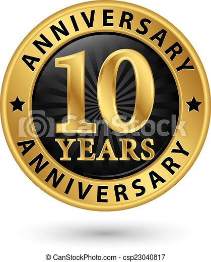 10 Years Anniversary Gold Label Vector Illustration