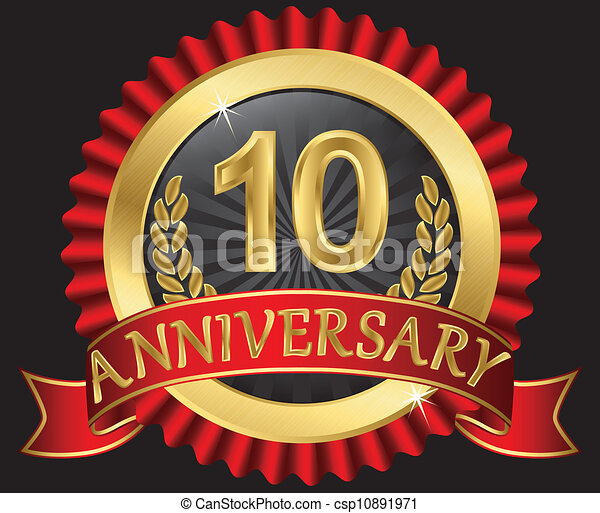 10 Years Anniversary Golden Label With Ribbons Vector Illustration